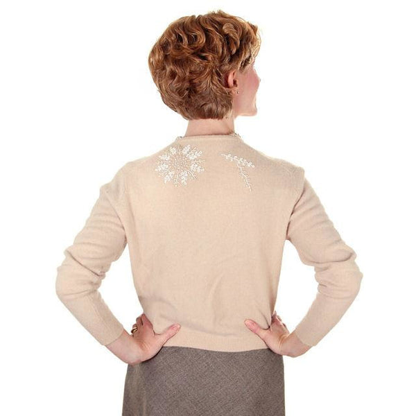 Vintage Taupe Cashmere Beaded Cardigan Sweater 1950s Small-Med - The Best Vintage Clothing  - 4