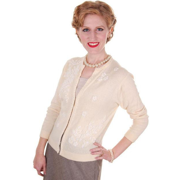 Vintage Cream Wool Beaded Cardigan Sweater 1950s S-M - The Best Vintage Clothing  - 1