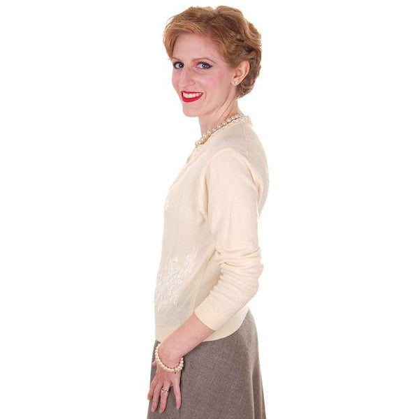 Vintage Cream Wool Beaded Cardigan Sweater 1950s S-M - The Best Vintage Clothing  - 3