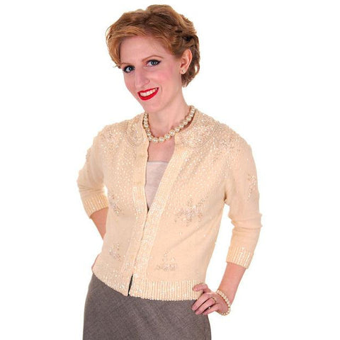 Vintage Cream Colored Cashmere Sweater Beaded/Sequins 1950s Mint