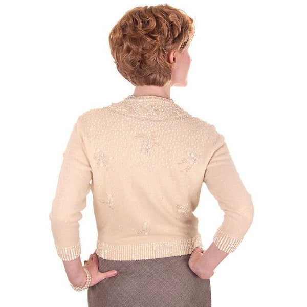 Vintage Cream Colored Cashmere Sweater Beaded/Sequins 1950s Mint - The Best Vintage Clothing  - 4