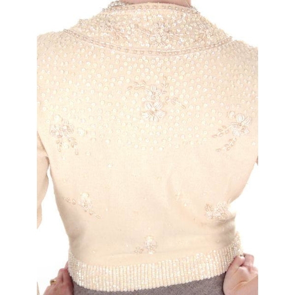 Vintage Cream Colored Cashmere Sweater Beaded/Sequins 1950s Mint - The Best Vintage Clothing  - 5