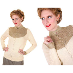 Vintage Silk Knit Sweater Metallic Gold Crochet Yoke Richard Assatly 1970s Small - The Best Vintage Clothing  - 2