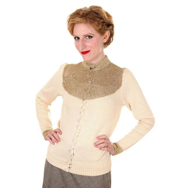 Vintage Silk Knit Sweater Metallic Gold Crochet Yoke Richard Assatly 1970s Small - The Best Vintage Clothing  - 1