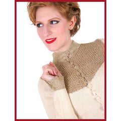 Vintage Silk Knit Sweater Metallic Gold Crochet Yoke Richard Assatly 1970s Small - The Best Vintage Clothing  - 6