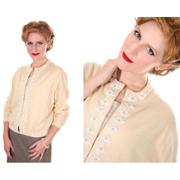 Vintage Beaded Cardigan Sweater Cream/White Wool Angora 1950s Medium - The Best Vintage Clothing  - 2