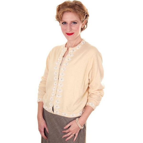 Vintage Beaded Cardigan Sweater Cream/White Wool Angora 1950s Medium - The Best Vintage Clothing  - 1
