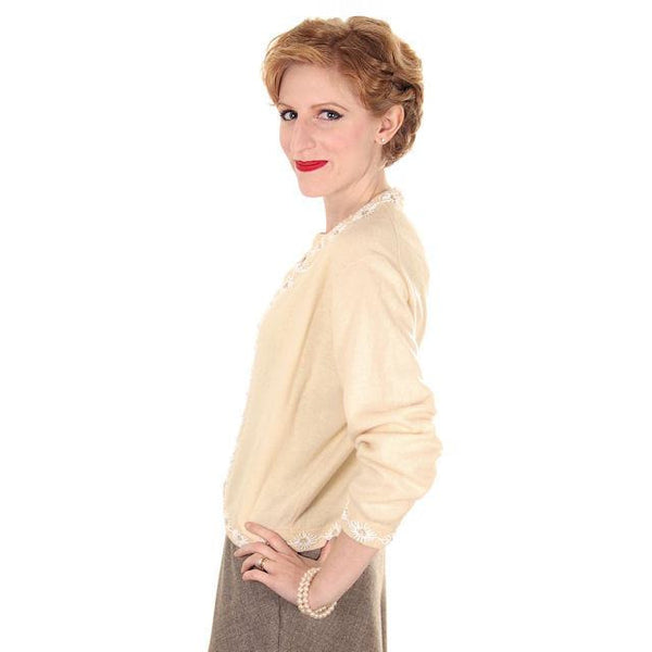 Vintage Beaded Cardigan Sweater Cream/White Wool Angora 1950s Medium - The Best Vintage Clothing  - 3