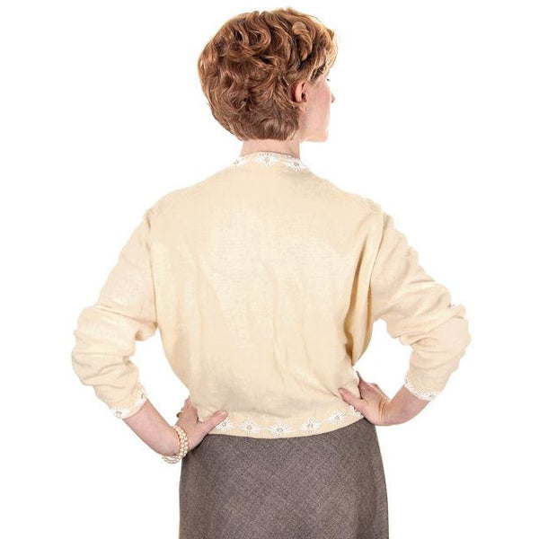 Vintage Beaded Cardigan Sweater Cream/White Wool Angora 1950s Medium - The Best Vintage Clothing  - 4
