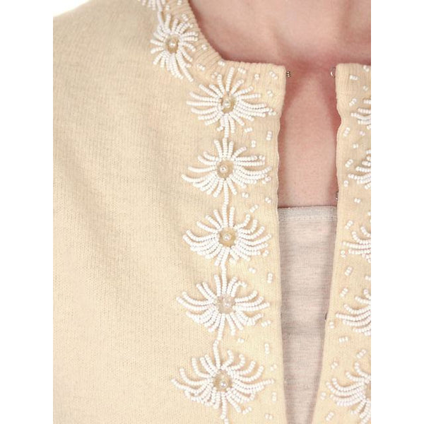 Vintage Beaded Cardigan Sweater Cream/White Wool Angora 1950s Medium - The Best Vintage Clothing  - 5