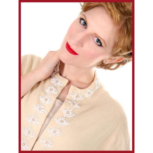Vintage Beaded Cardigan Sweater Cream/White Wool Angora 1950s Medium - The Best Vintage Clothing  - 6