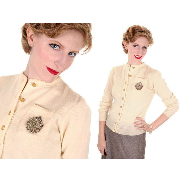 Vintage Sweater Wool Cardigan w/ Embellishment 1950s Small - The Best Vintage Clothing  - 2