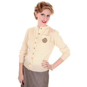 Vintage Sweater Wool Cardigan w/ Embellishment 1950s Small - The Best Vintage Clothing  - 1