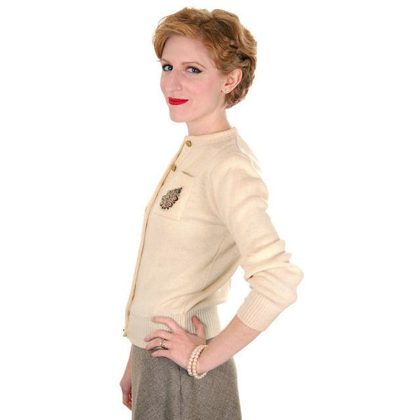 Vintage Sweater Wool Cardigan w/ Embellishment 1950s Small - The Best Vintage Clothing  - 3