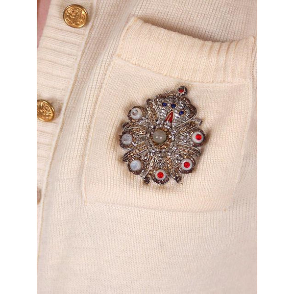 Vintage Sweater Wool Cardigan w/ Embellishment 1950s Small - The Best Vintage Clothing  - 5