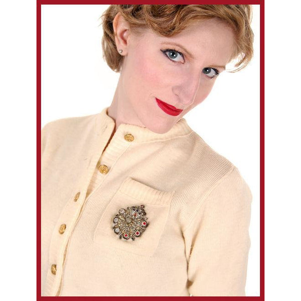 Vintage Sweater Wool Cardigan w/ Embellishment 1950s Small - The Best Vintage Clothing  - 6