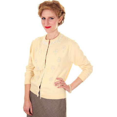 Vintage Cream Colored Cashmere Beaded Cardigan Sweater 1950s Lg