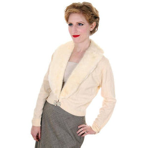 Vintage Ladies Pringle Cashmere Sweater w/ Mink Collar Cream 1950s - The Best Vintage Clothing  - 1