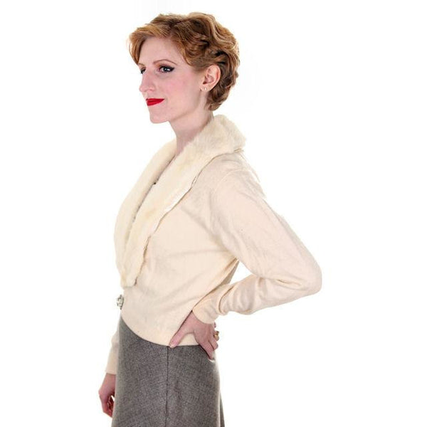 Vintage Ladies Pringle Cashmere Sweater w/ Mink Collar Cream 1950s - The Best Vintage Clothing  - 2