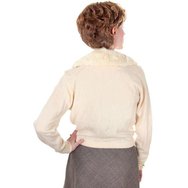 Vintage Ladies Pringle Cashmere Sweater w/ Mink Collar Cream 1950s - The Best Vintage Clothing  - 3