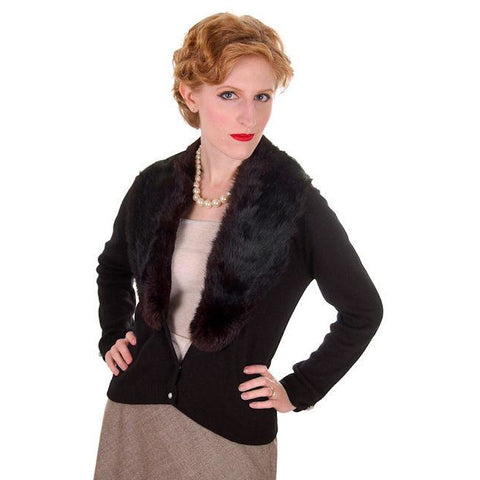 Vintage Black Sweater w/Dark Brown Fur Shawl Collar 1950s M