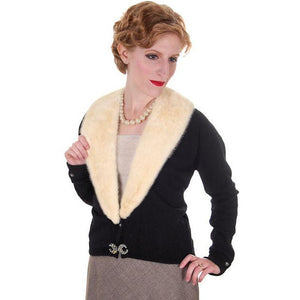 Vintage Ladies Black Cashmere Sweater w/Cream Mink Collar 1950s Med-Lg - The Best Vintage Clothing  - 1