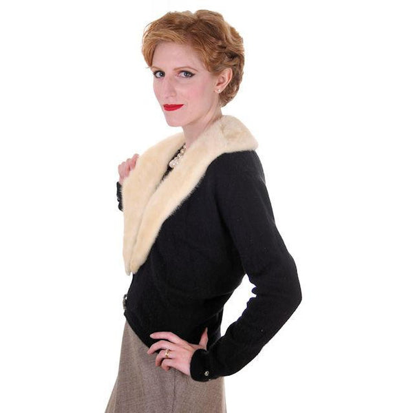 Vintage Ladies Black Cashmere Sweater w/Cream Mink Collar 1950s Med-Lg - The Best Vintage Clothing  - 2