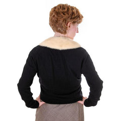 Vintage Ladies Black Cashmere Sweater w/Cream Mink Collar 1950s Med-Lg - The Best Vintage Clothing  - 3