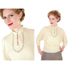 Vintage Ladies Rayon Knit Sweater Embellished Apollo 1940s Small - The Best Vintage Clothing  - 2