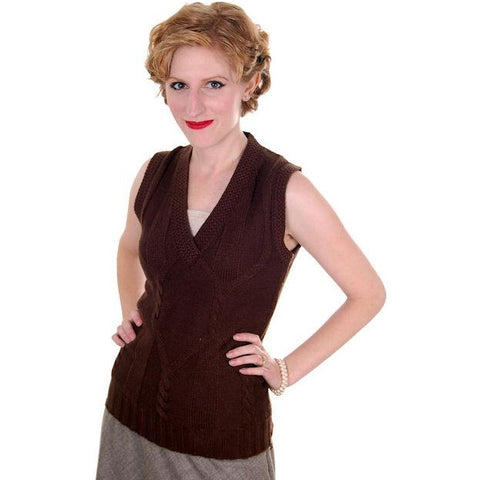 Vintage  Sweater Vest Chocolate Brown Fitted V Neck Small 1970s