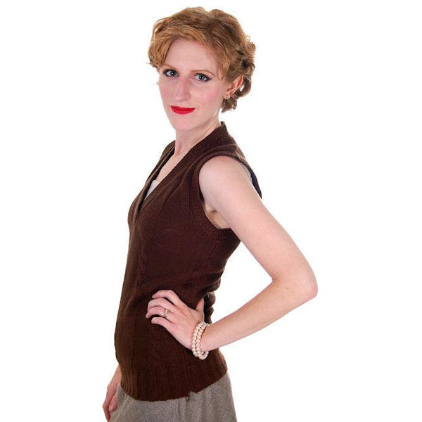 Vintage  Sweater Vest Chocolate Brown Fitted V Neck Small 1970s - The Best Vintage Clothing  - 2