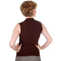 Vintage  Sweater Vest Chocolate Brown Fitted V Neck Small 1970s - The Best Vintage Clothing  - 3