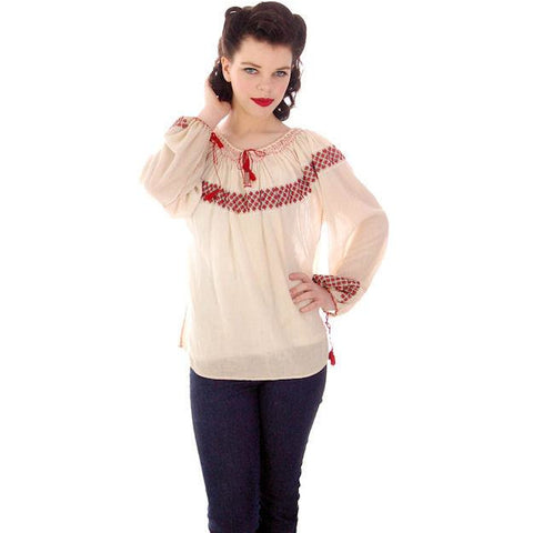 Vintage Gauze Peasant Blouse 1920s Red Embroidery S-L Size