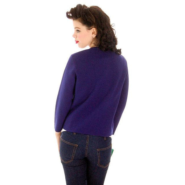 Vintage Orlon Acrylic Cardigan Navy Blue Beaded Appliques Butterflies 1950s - The Best Vintage Clothing  - 3