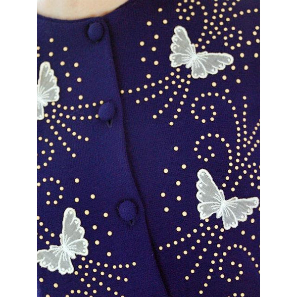 Vintage Orlon Acrylic Cardigan Navy Blue Beaded Appliques Butterflies 1950s - The Best Vintage Clothing  - 4
