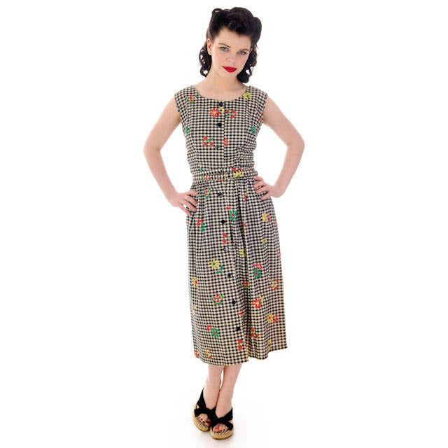 Vintage Cotton 2 PC Playsuit/Skirt Black & White Gingham  & Flowers 1940s 38-29-41 - The Best Vintage Clothing  - 1