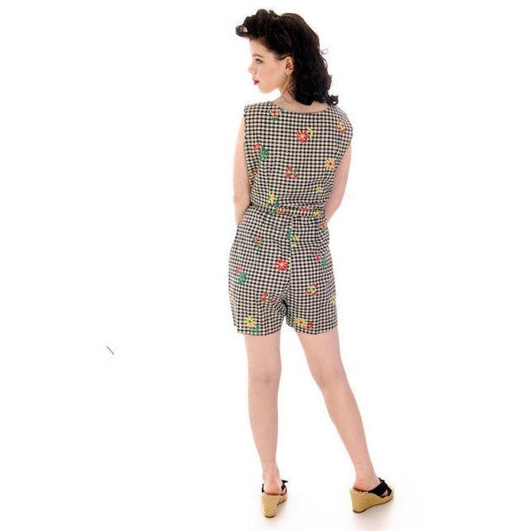 Vintage Cotton 2 PC Playsuit/Skirt Black & White Gingham  & Flowers 1940s 38-29-41 - The Best Vintage Clothing  - 4