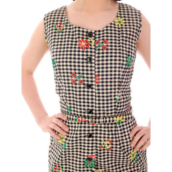 Vintage Cotton 2 PC Playsuit/Skirt Black & White Gingham  & Flowers 1940s 38-29-41 - The Best Vintage Clothing  - 6