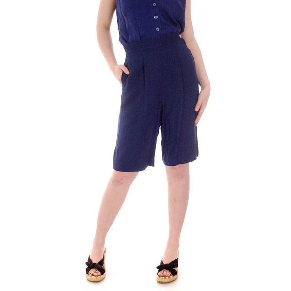 "Vintage Ladies Side Zip Bermuda  Shorts Navy Blue Versatogs 1940s 27"" Waist - The Best Vintage Clothing  - 2"