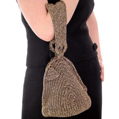 Vintage Olive Green & Gold Metallic Cord Evening Bag Over The Arm 1940s - The Best Vintage Clothing  - 4