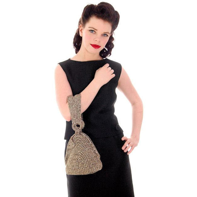 Vintage Olive Green & Gold Metallic Cord Evening Bag Over The Arm 1940s - The Best Vintage Clothing  - 1