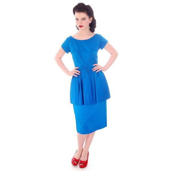 Vintage Electric Blue Hobble Dress 1950s  34-26-38 - The Best Vintage Clothing  - 2