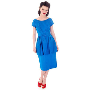 Vintage Electric Blue Hobble Dress 1950s  34-26-38 - The Best Vintage Clothing  - 1