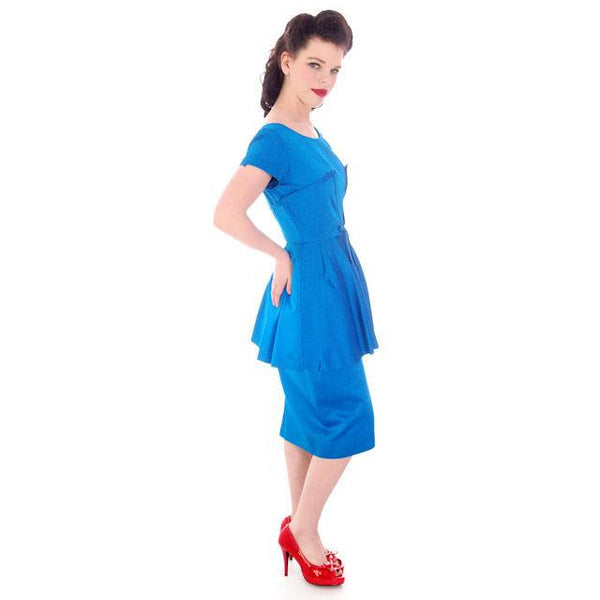 Vintage Electric Blue Hobble Dress 1950s  34-26-38 - The Best Vintage Clothing  - 4