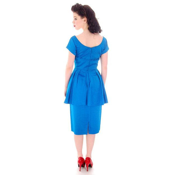 Vintage Electric Blue Hobble Dress 1950s  34-26-38 - The Best Vintage Clothing  - 3