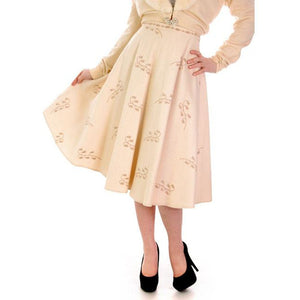 "Vintage Ivory Wool/Rayon  Felt Circle Skirt Embroidered 1950s 28"" Waist - The Best Vintage Clothing  - 1"