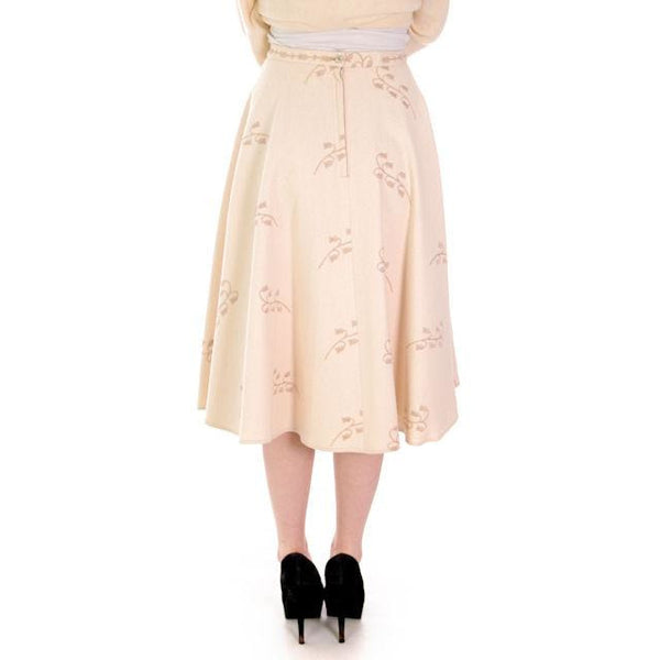 "Vintage Ivory Wool/Rayon  Felt Circle Skirt Embroidered 1950s 28"" Waist - The Best Vintage Clothing  - 2"