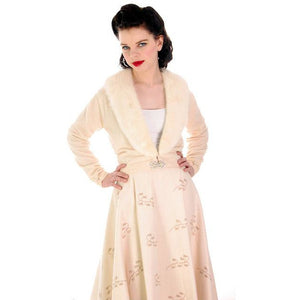 Vintage Cream Pure Cashmere Sweater Pringle 1950s Detachable Mink Collar 38 Bust - The Best Vintage Clothing  - 1