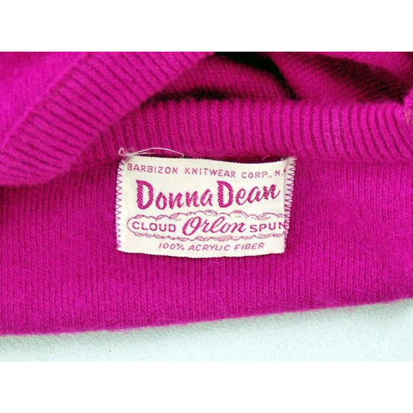 Vintage Orlon Sweater Fuchsia Color Long Sleeve Donna Dean 1950s - The Best Vintage Clothing  - 4