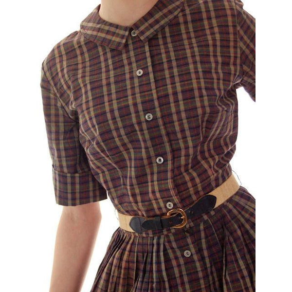 Vintage  Cotton Shirt Dress Brown Plaid Barnesville 1950s NOS 36-25-Free - The Best Vintage Clothing  - 5